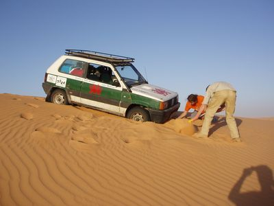 FIAT Panda stuck in the sand